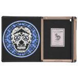 Diseño negro blanco azul del damasco del cráneo de iPad protectores