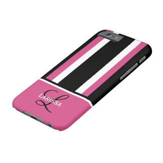 Diseño negro blanco del rosa moderno del monograma funda de iPhone 6 barely there