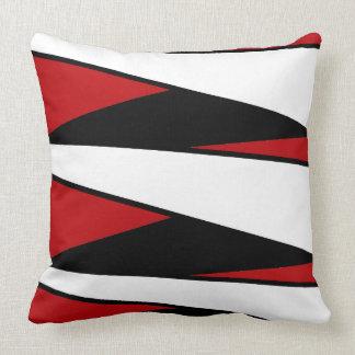 Diseño negro, blanco, rojo de las rayas en la cojines