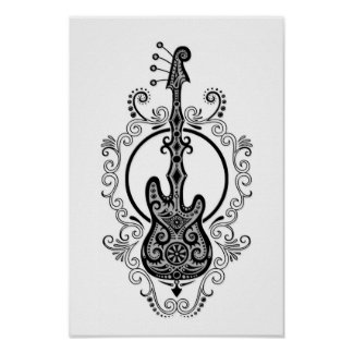 Diseño negro complejo de la guitarra baja en blanc póster