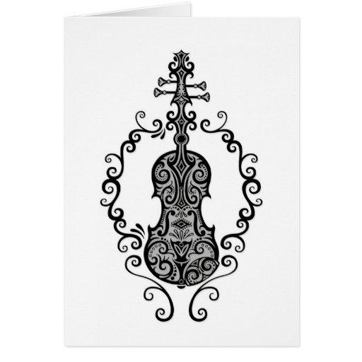 Diseño negro complejo del violín en blanco tarjeta de felicitación