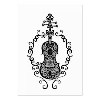 Diseño negro complejo del violín en blanco tarjeta de visita