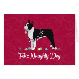 Diseño negro de Boston Terrier Feliz Naughty Dog Tarjeta De Felicitación