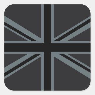 Diseño negro de la bandera de Union Jack Pegatina Cuadrada