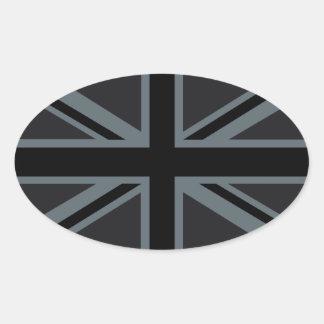 Diseño negro de la bandera de Union Jack Pegatina Ovalada