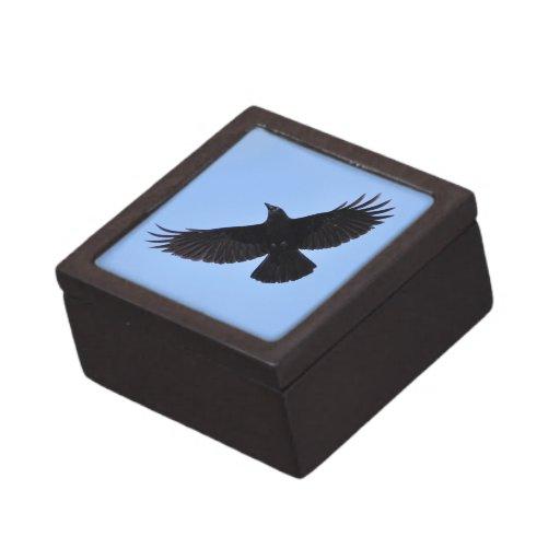 Diseño negro de la foto del Cuervo-amante de Corvi Caja De Regalo De Calidad