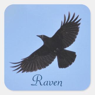Diseño negro de la foto del Cuervo-amante de Pegatina Cuadrada
