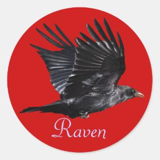 Diseño negro de la foto del Cuervo-amante de Pegatina Redonda