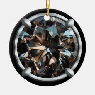 Diseño negro de la gema adorno redondo de cerámica