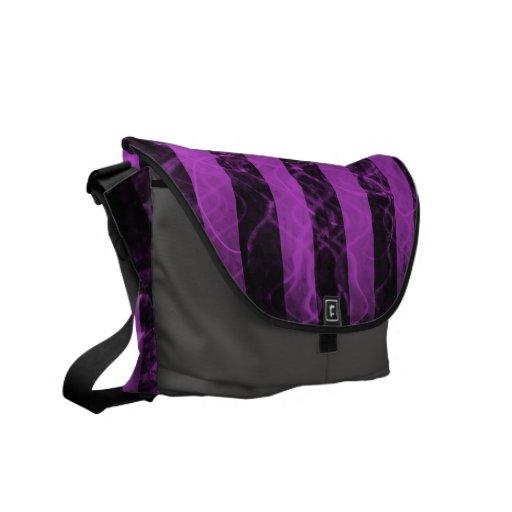 Diseño negro de la raya de Verticle y púrpura punk Bolsas De Mensajeria