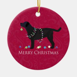 Diseño negro de las Felices Navidad del Adorno Navideño Redondo De Cerámica