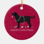 Diseño negro de las Felices Navidad del Adorno Redondo De Cerámica
