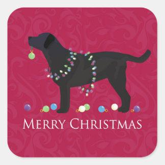 Diseño negro de las Felices Navidad del Pegatina Cuadrada
