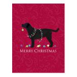 Diseño negro de las Felices Navidad del Postal