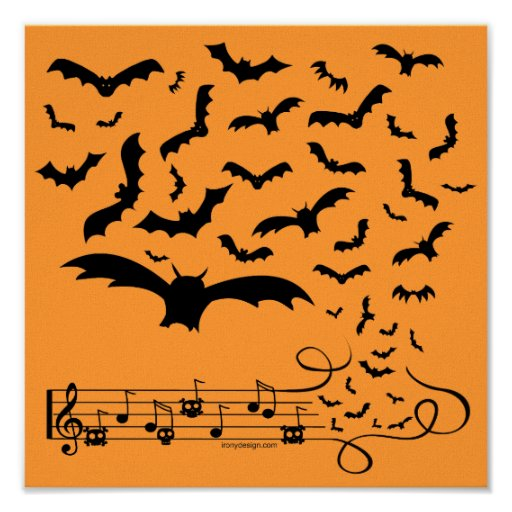 Diseño negro de los palos de la música póster