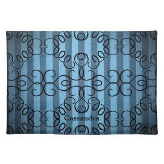 Diseño negro de lujo del remolino en rayas azules mantel individual