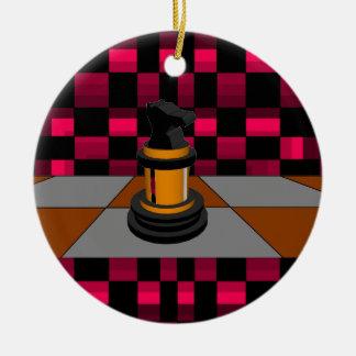 Diseño negro de oro 3D del ajedrez 2 del caballero Ornamentos Para Reyes Magos