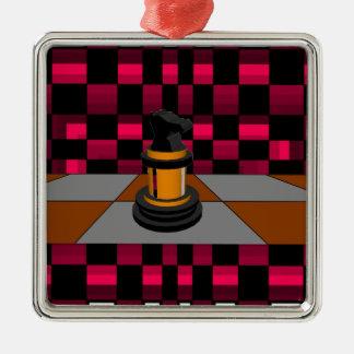 Diseño negro de oro 3D del ajedrez del caballero d Ornamento De Reyes Magos