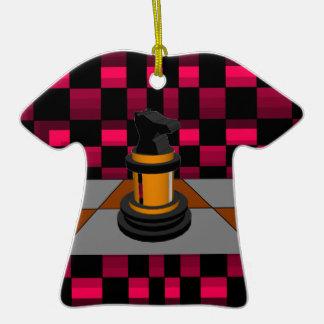 Diseño negro de oro 3D del ajedrez del caballero d Adorno Para Reyes