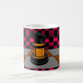 Diseño negro de oro 3D del ajedrez del caballero d Taza