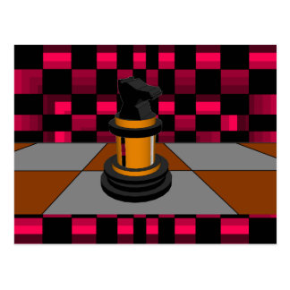 Diseño negro de oro 3D del ajedrez del caballero Postal