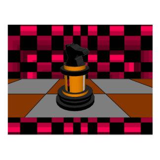 Diseño negro de oro 3D del ajedrez del caballero Tarjeta Postal