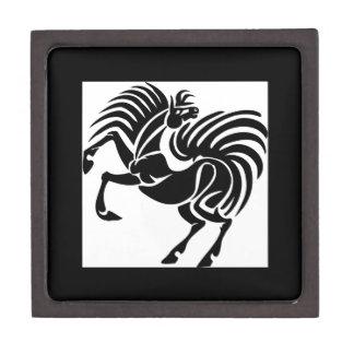 Diseño negro del caballo caja de recuerdo de calidad