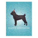 Diseño negro del cumpleaños de Shar Pei Tarjetas Postales