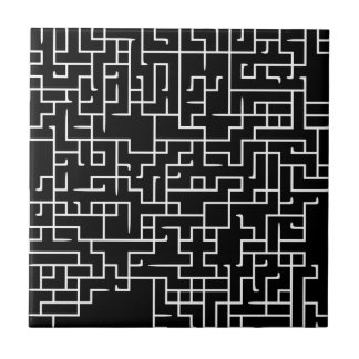 Diseño negro del laberinto del laberinto azulejo cuadrado pequeño