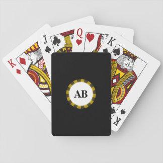 Diseño negro del monograma baraja de póquer