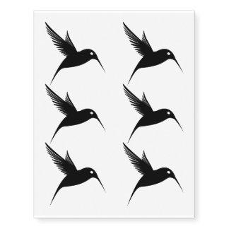 Diseño negro del tatuaje del colibrí tatuajes temporales