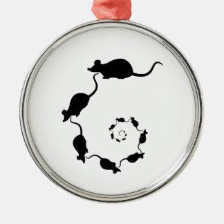 Diseño negro lindo del ratón. Espiral de ratones Ornamentos Para Reyes Magos