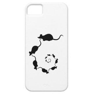 Diseño negro lindo del ratón. Espiral de ratones Funda Para iPhone 5 Barely There