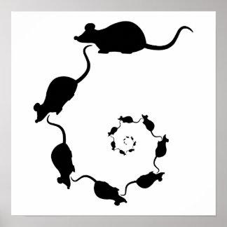 Diseño negro lindo del ratón. Espiral de ratones Poster
