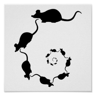 Diseño negro lindo del ratón. Espiral de ratones Posters