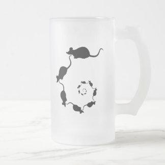 Diseño negro lindo del ratón. Espiral de ratones Taza De Café