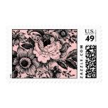 Diseño negro rosado del arte gráfico del ramo de sellos