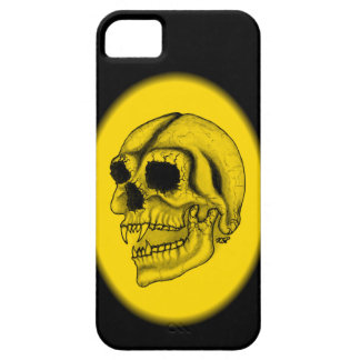 Diseño negro y amarillo del cráneo del vampiro iPhone 5 Case-Mate cárcasas