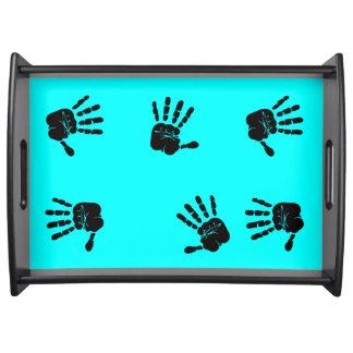 Diseño negro y azul de las impresiones de la mano bandeja