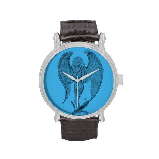 Diseño negro y azul del ángel relojes de pulsera