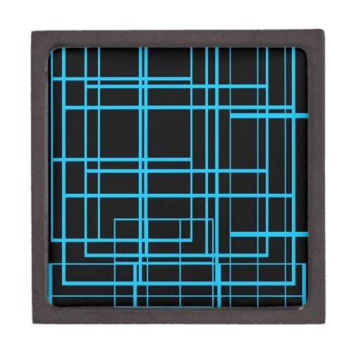 Diseño negro y azul del laser cajas de recuerdo de calidad