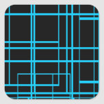 Diseño negro y azul del laser pegatina cuadrada