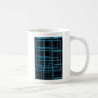 Diseño negro y azul del laser taza de café