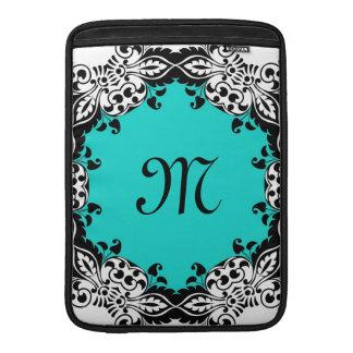 Diseño negro y blanco del trullo elegante con el m fundas para macbook air