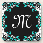 Diseño negro y blanco del trullo elegante con el m posavasos