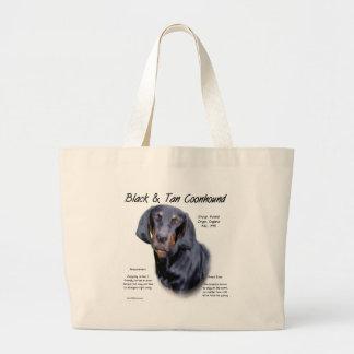 Diseño negro y del moreno del Coonhound de la hist Bolsas Lienzo