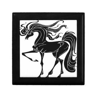 Diseño negro y estilizado del caballo cajas de recuerdo