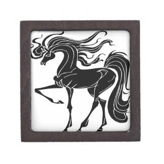 Diseño negro y estilizado del caballo cajas de recuerdo de calidad