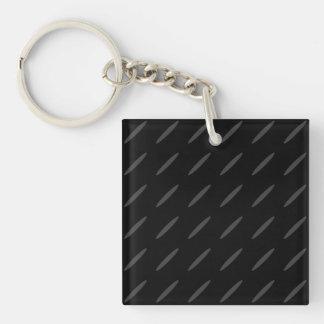 Diseño negro y gris del fondo, óvalos finos llavero cuadrado acrílico a una cara