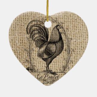 diseño negro y gris rústico del gallo en la adorno navideño de cerámica en forma de corazón